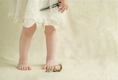 a little bit mischievous (Svetlana Bekyarova / freesoul) Tags: texture kid scissors littlefeet whitedress cuthair