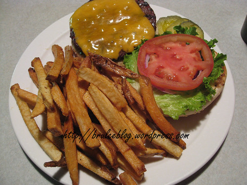 bison burger and french fries