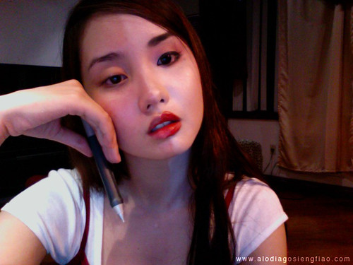 An unedited webcam comparison photo. One side with make-up, ...
