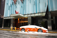 new york city nyc orange snow manhattan snowstorm fast exotic times parked blizzard lamborghini supercar murcielago sqaure