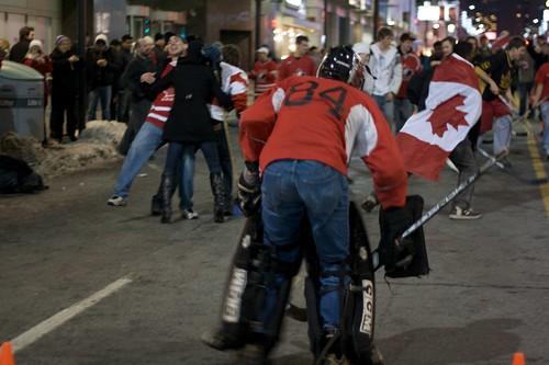 Yonge Street Road Hockey-Canada Gold celebration