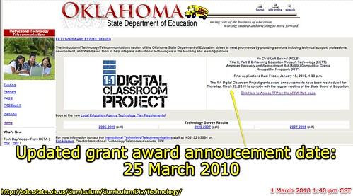 Updated Grant Annoucement Date