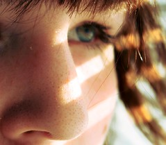 116/365 (anna gutermuth) Tags: sunlight selfportrait eye closeup hair nose bokeh bangs day116 blackheads 365days blindlines