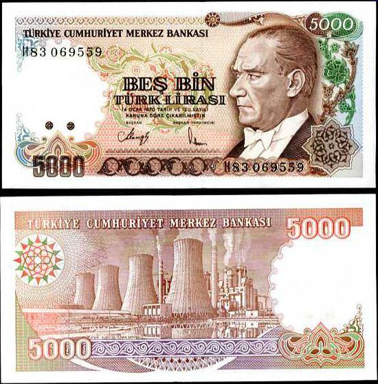 TURECKO 5000 5,000 LIRASI LÍR 1992 P198