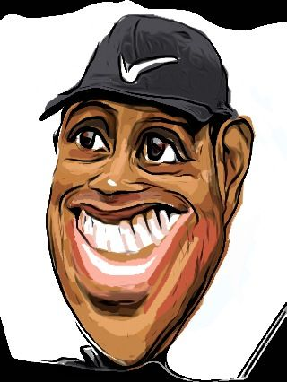 Drawing Tiger Woods caricature with iPhone