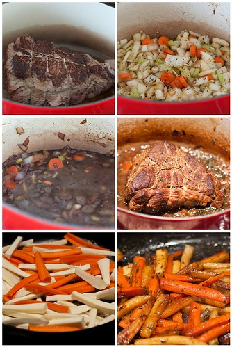 Making Zinfandel Pot Roast with Glazed Carrots and Parsnips