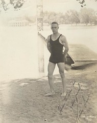 1940s Man In Squarecut Swim Trunks Tanktop Muscle Athlete Masculine Vintage Photo (1) (Christian Montone) Tags: summer blackandwhite man men swimming photo muscular 1940s tanktop leisure recreation swimsuit lean vintagephotos swimtrunks vintagephoto squarecut