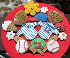 Spring Fever--Chicago Style! (Carroll's Cookies n Crumbs) Tags: cookies hat shirt ball spring baseball cone bat jersey cubs