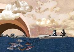 Fish Ship (Jiro Ban) Tags: sea fish collage port vintage boat ship