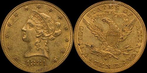 1881-O $10.00 NGC AU58