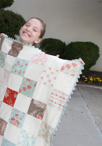Kennedy and her quilt