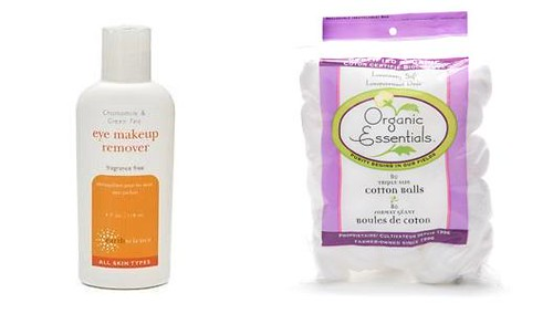 Earth Science Eye Make-Up Remover and organic cotton balls
