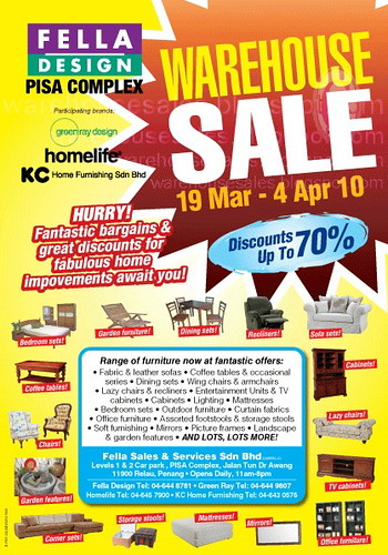 19 Mar   4 Apr: Fella Design Warehouse Sale Pisa Complex