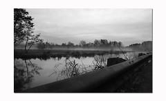 Morning Mist at Riverside (StuartWebster) Tags: morning bw mist reflection water photoshop d50 river landscape iso200 nikon raw tripod hampshire manual southampton f71 riversidepark 18mm 130sec elements7 riveritchin sigma18mm105mm