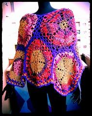 Pink-Gold-Violet Crochet Poncho (babukatorium) Tags: pink color art lana wool fashion gold warm purple handmade burgundy crochet moda violet style hexagon psychedelic poncho multicolor haken asymmetric hkeln croch ganchillo fuxia uncinetto fattoamano lam  tii horgolt babukatorium