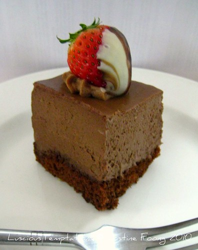 Chocolate Mousse Cake with Chocolate Coated Strawberry