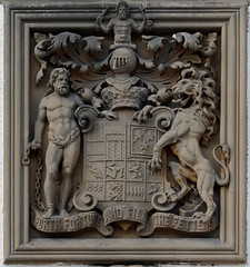 Coat of arms in Blair castle (Eusebius@Commons) Tags: sculpture stone scotland heraldry coatofarms lion scottish motto crest relief blaircastle