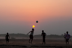 ....... (Shad0w_0f_Dark) Tags: sunset sun boys field fly football nikon d200 sylhet bangladesh tamron1750 frozeneffect ttlpod355