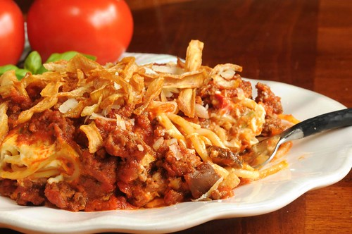 Scooter's Baked Spaghetti with French-Fried Onions -- Scooter's spaghetti on a plate