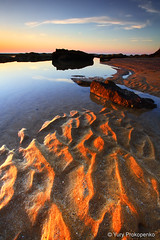 Sand Ripples (-yury-) Tags: ocean morning sea sky beach water sunrise sand rocks sydney australia ripples bungan