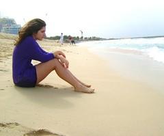 pensive .. (<maria>) Tags: blue summer feet beach water girl shirt sand dubai sitting wind think windy teen sit thinking