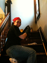 Amy staining stairs