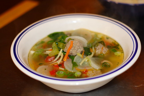 ClearMeatball soup with spinach0002