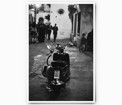 Postcard (Ana Santos) Tags: blackandwhite night sevilla spain alley formal scooter seville sidewalk alleyway anasantos