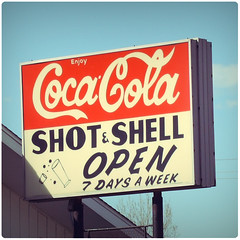 Shot & Shell (scott_z28) Tags: old classic sign bar mi vintage michigan coke soda cocacola baycity tricities fauxvintage fakexpro essexville shotandshell