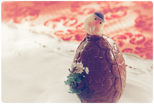 Chocolate Egg with weird blue hatted bird