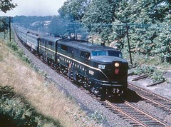 Pennsylvania Railroad ALCO PA 1 diesel locomotives on a passenger train. Pennsylvania USA circa early 1960's.