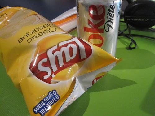 chips, soda - $1.25
