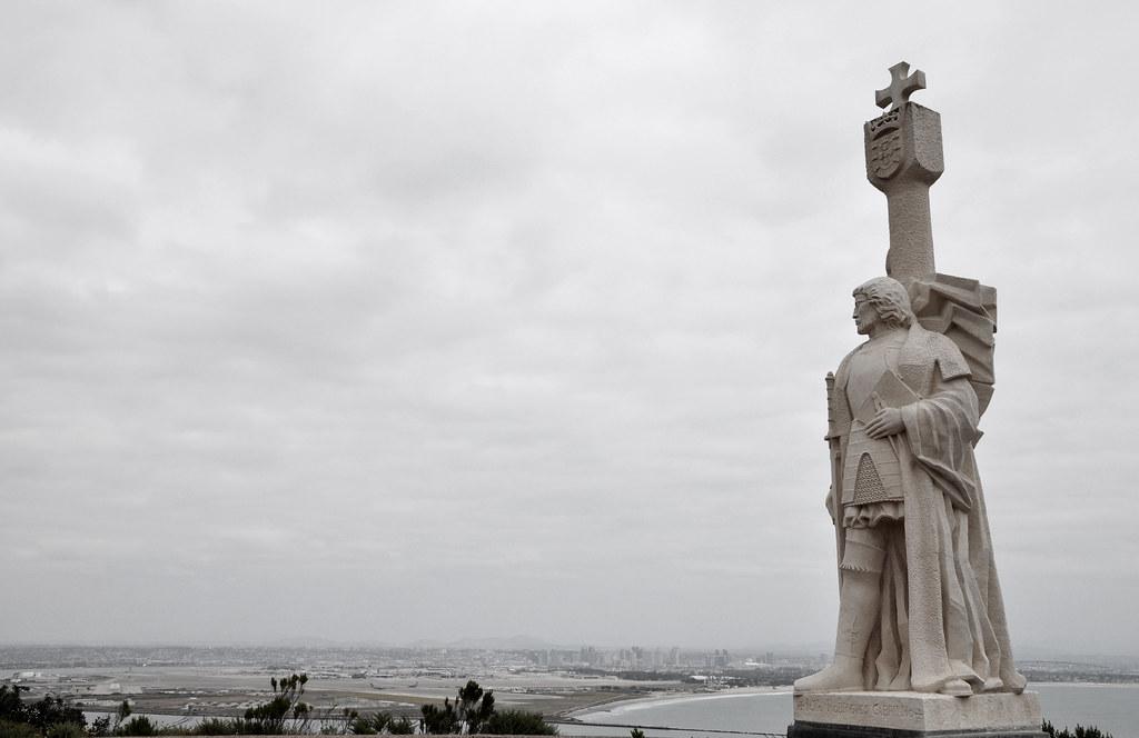 Juan Rodriguez Cabrillo overlooking city of San Diego