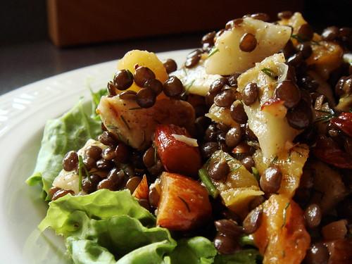 CSA Winter 9: Sunchoke Caviar Lentil Salad