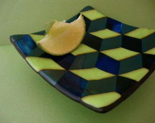 Escher Stairs - A Geometric Fused Glass Dish in a Intricate Diamond Pattern