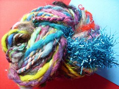 tinsel trainwreck (8) (rosie.ok) Tags: art wool crazy knitting warm crochet craft yarn spinning crafty handspun arisan artyarn