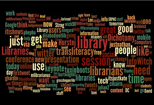 CiL2010 tweets in wordle by Librarian by Day, on Flickr