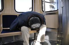 Sleeping on a New CTA Train (vxla) Tags: railroad chicago train illinois cta metro homeless humor rail railway trains prototype transportation transit april l wtf 5000 smelly 2010 revenue firstrun bombardier 18105 transient stinks d90 vxla 5000series 2010s