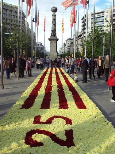 Bandera de Aragón realizada con flores