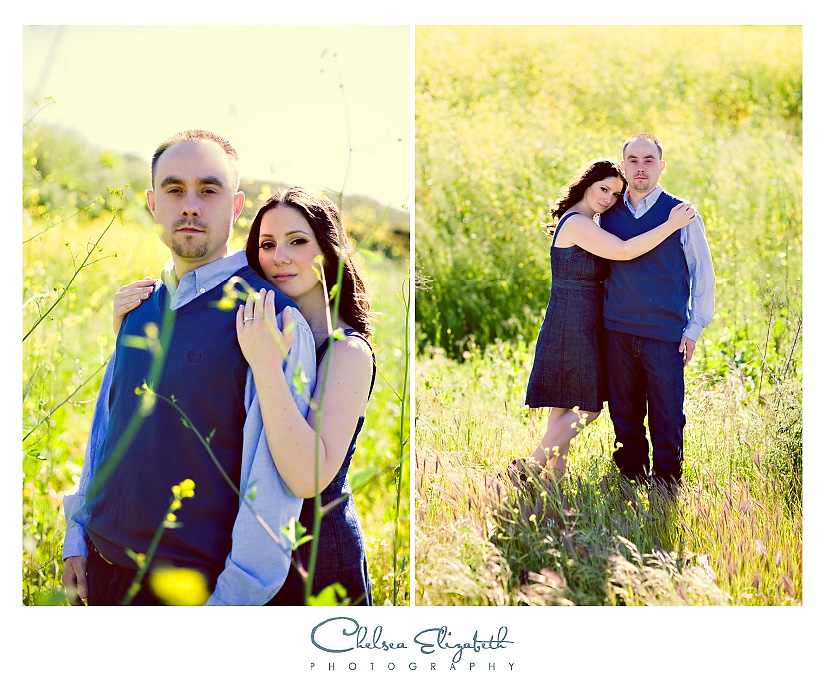 Westlake Village wedding photography engagement session in mustard fields