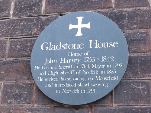 Gladstone House, 28 St Giles Street, Norwich - plaque of John Harvey on Gladstone House