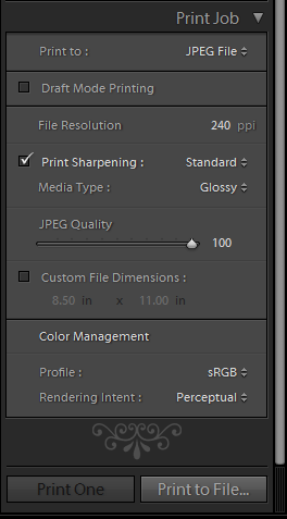 Lightroom Print Module Settings