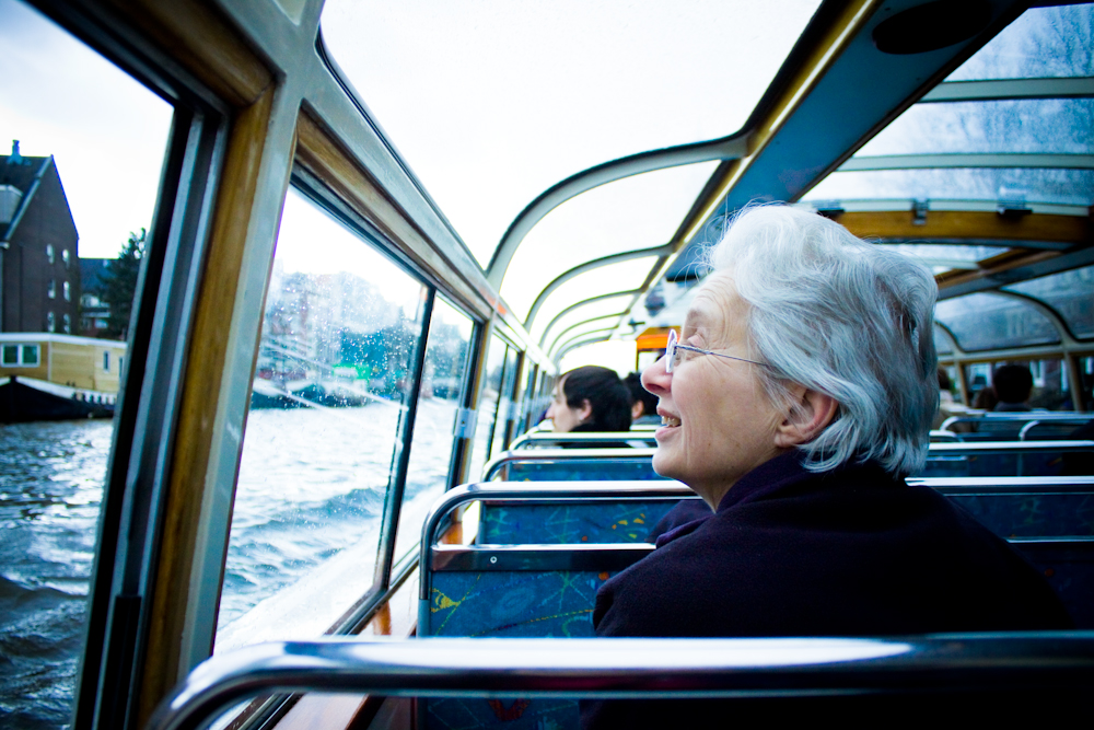Old Lady On Canal Cruise