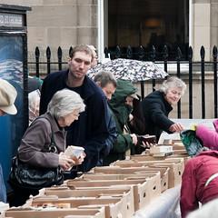 Browsing at the book sale (m.o.n.o.c.h.r.o.m.e.) Tags: people book edinburgh looking sale books cardboard boxes secondhand georgestreet browsing