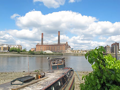 Battersea shore looking over at Lots Road power station in Chelsea. (maggie jones.) Tags: blue london thames clouds river battersea barge wandsworth
