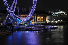 The GLC Building and the London Eye (Mo Baig) Tags: longexposure reflection london architecture night nikon cityscape engineering londoneye riverthames 201005 allrightsreserved hungerfordfootbridge tamron2875f28 glcbuilding nikond90 mygearandme mobaig