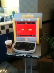 """McD @ rest area has this """"Apply for a job"""" machine with unintentionally ambivalent expression: (dpstyles™) Tags: onthego mcdonalds kiosk job 2tumblr"""