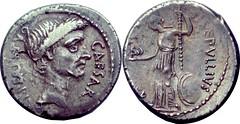 480/10 #10102-38 P.SEPVLLIVS MACER Julius Caesar, Venus Victory Denarius