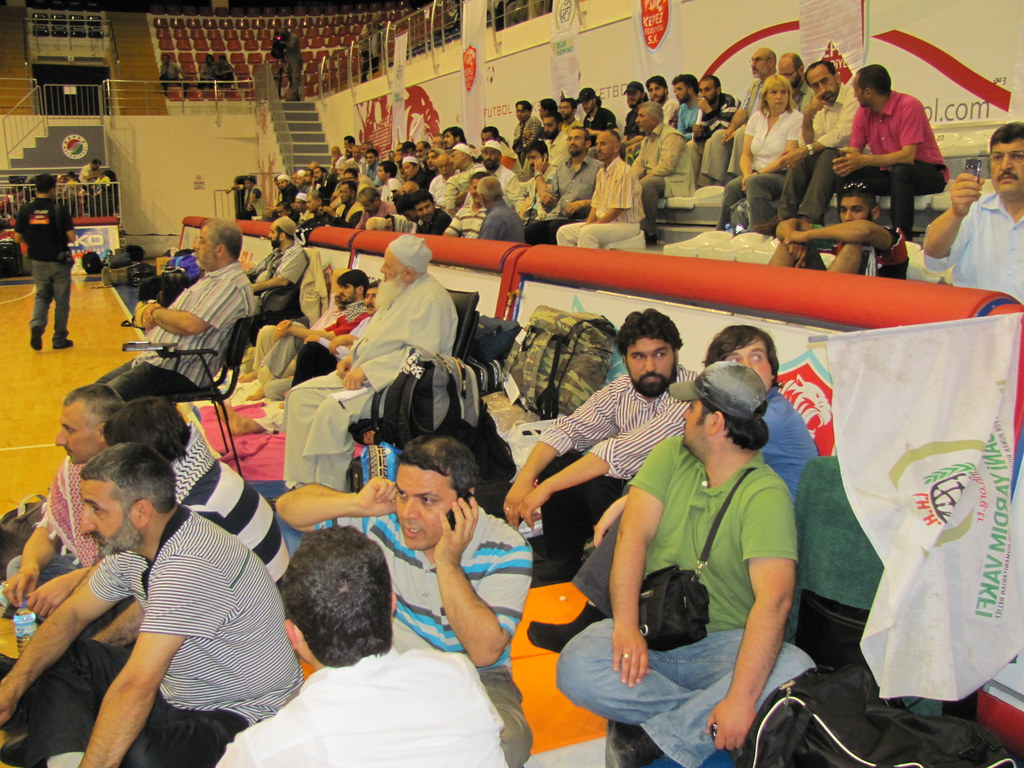 Freedom Flotilla participants, in Antalya, resting in sports hall. 24.05.2010