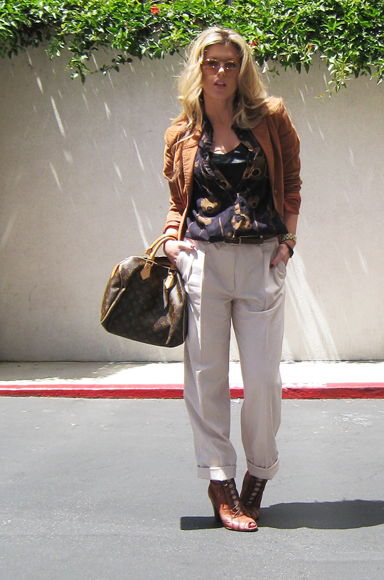 cuffed khaki pants+sam edelman boots+louis vuitton bag+gucci aviators+blonde hair